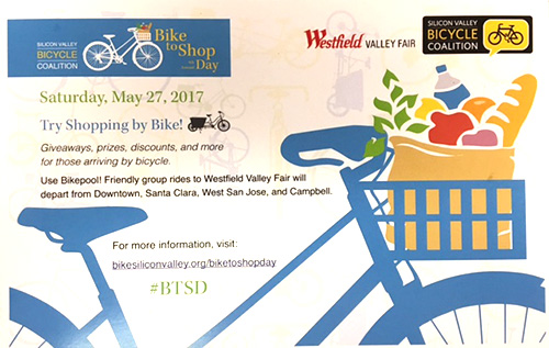 Bike to shop, saturday, May 27. Use bikepool, group rides to Westfield Valley Fair